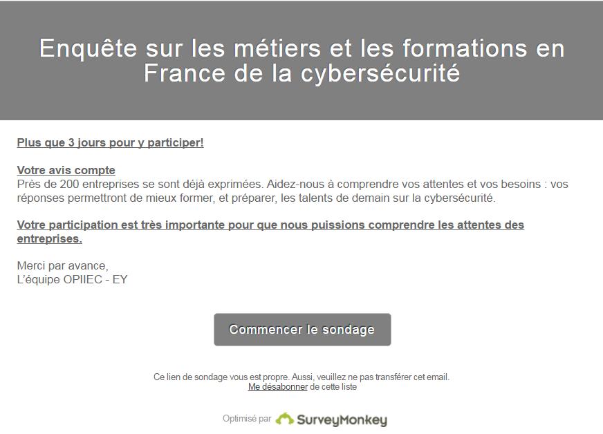 EY cybersécurite OPIIEC compétences surveymonkey